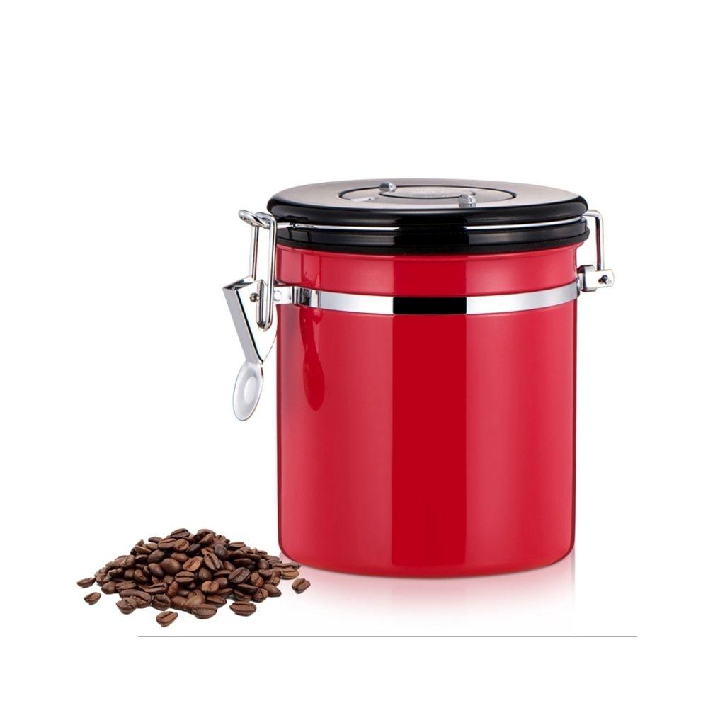 Wewoo 800ml en acier inoxydable scellé café et rouge aliments motifs conteneur de stockage de haricots avec intégré CO2 soupap