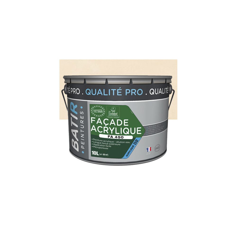 Batir Peintures Peinture acrylique Mat pour façade 10 L - Ton pierre - BAT111197 - Batir