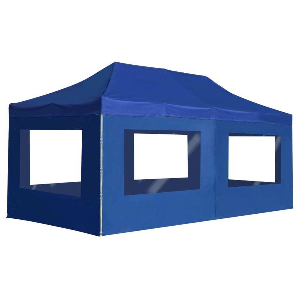 Vidaxl vidaXL Tente de Réception Pliable avec Parois 6x3 m Bleu Pavillon Chapiteau