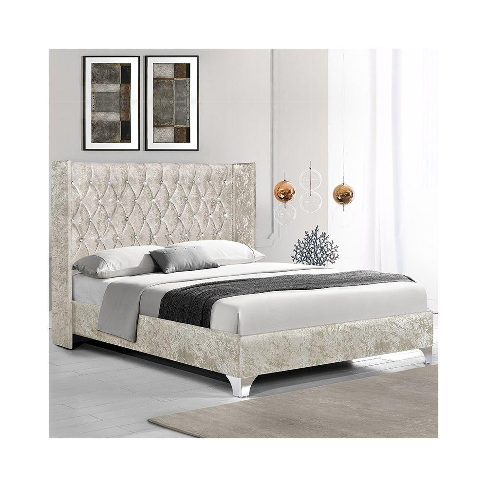 Meubler Design Lit capitonné grand tête de lit Focuse - Beige - 160x200