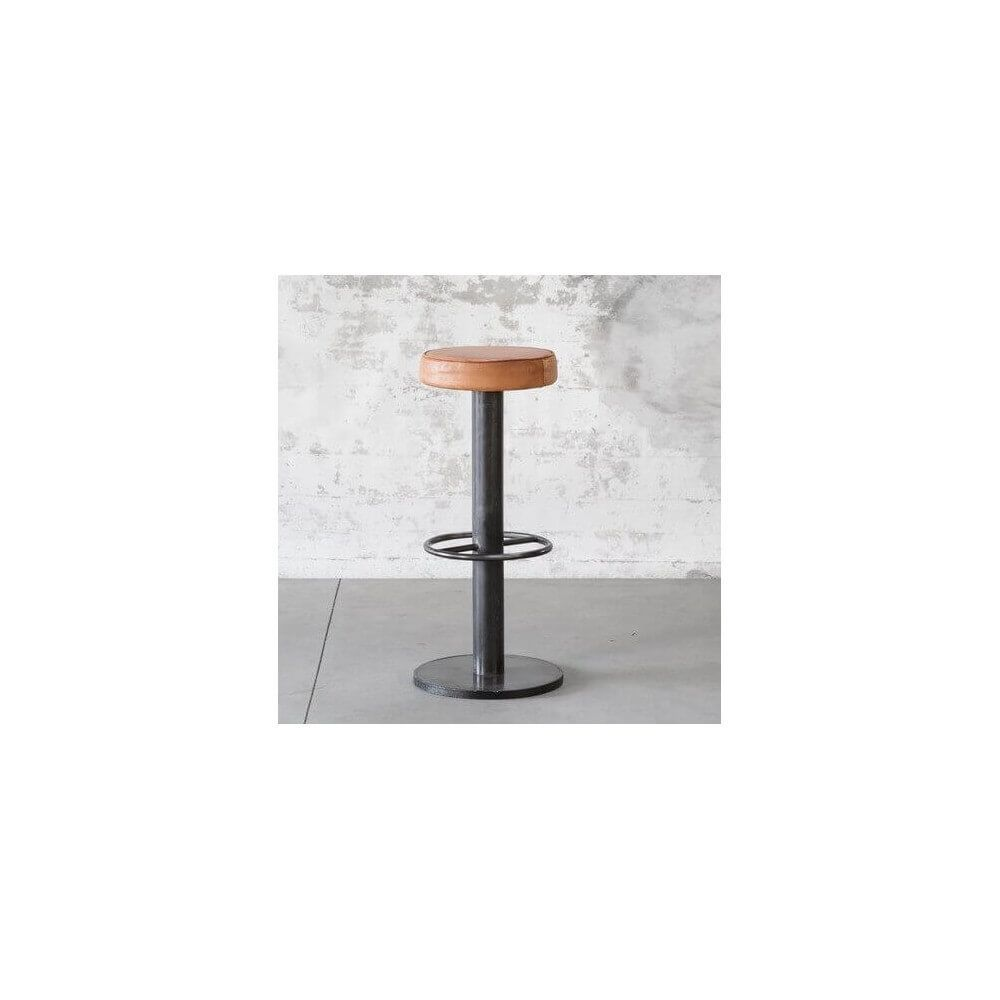 Mathi Design STEEL - Tabouret de bar industriel en acier et cuir