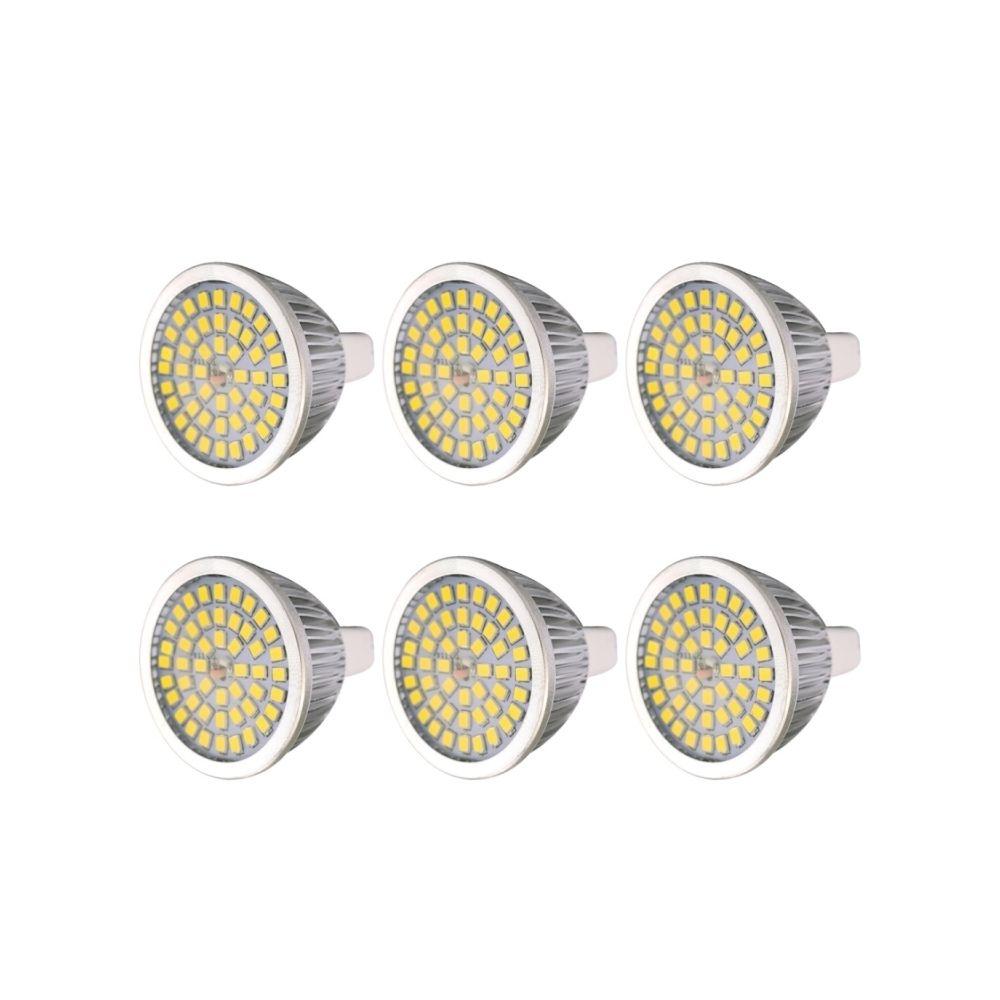 Wewoo Ampoule LED 6 PCS 7W 2835SMD Projecteur à Base moyenne standard MR16, AC / DC 12V (Blanc chaud)