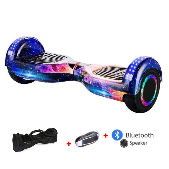 Mac Wheel -6,5 pouces trois ciel Hoverboard Gyropod Overboard Smart Scooter + Bluetooth + Sac + clé à distance + roue LED Mac Wheel  - Gyropode, Hoverboard