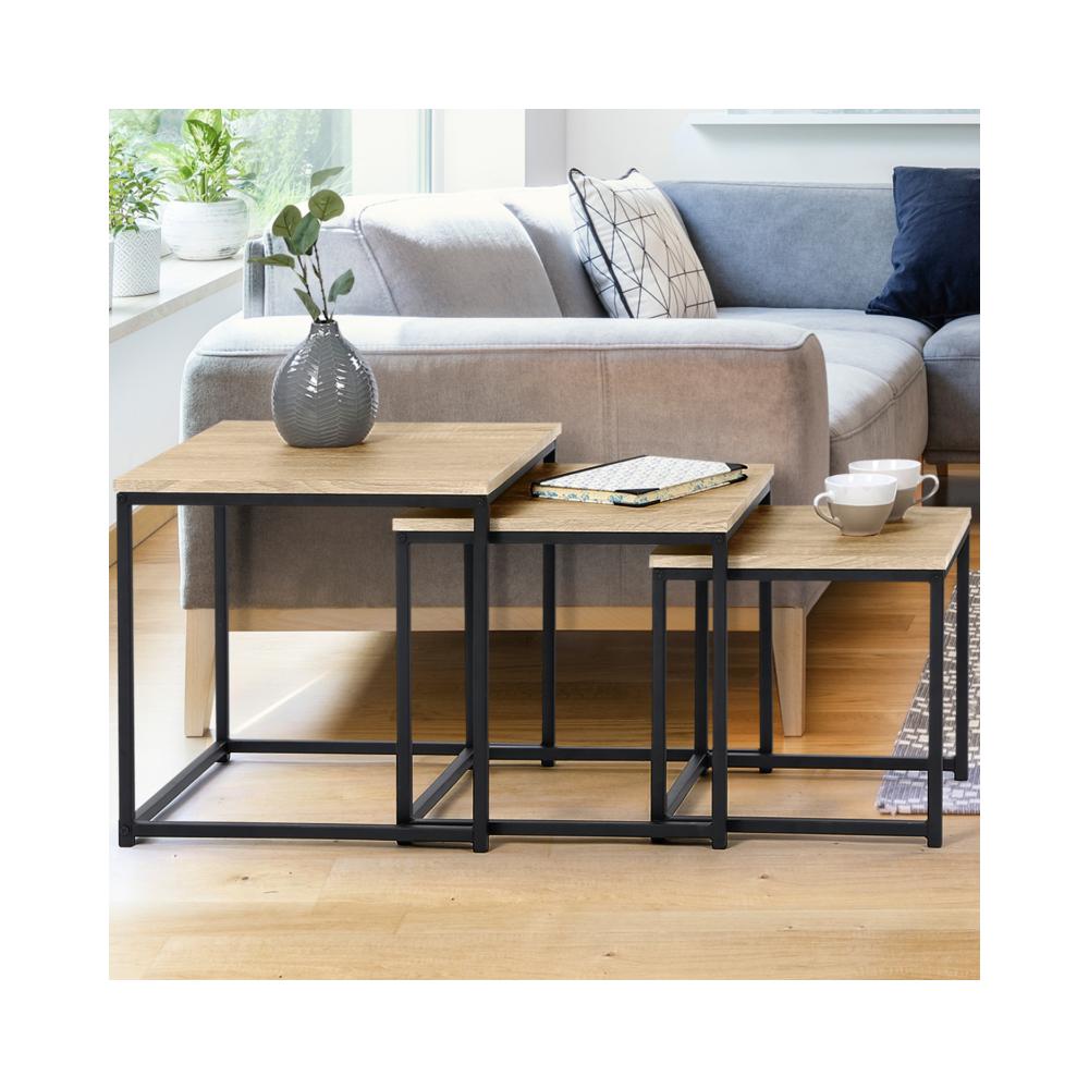 Idmarket Lot de 3 tables basses gigognes DETROIT 35/40/45 design industriel