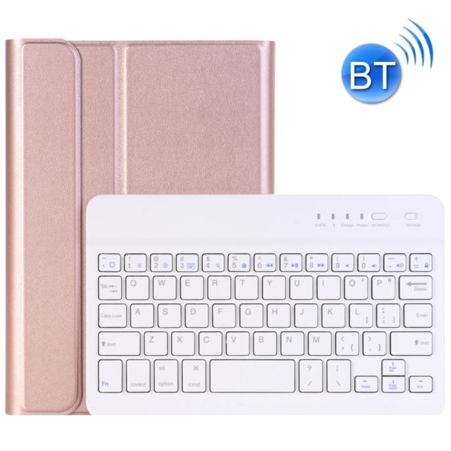 Wewoo - Clavier QWERTY rose pour iPad Mini 4 Ultra-mince ABS Bluetooth Horizontal Housse en cuir avec support Or - Clavier