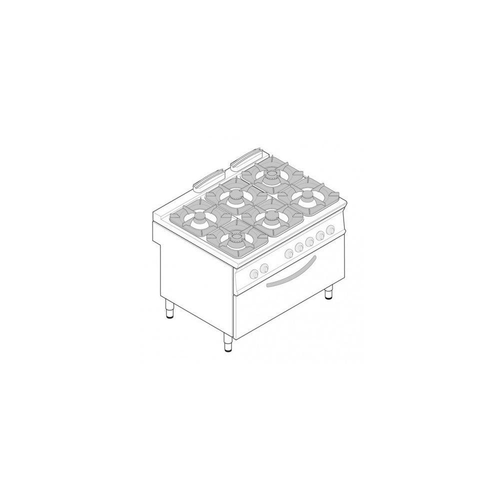 Materiel Chr Pro Fourneau avec four gaz statique extra-large et grill (3 kW) - 6 feux - gamme 900 - modules 400 - Tecnoinox -
