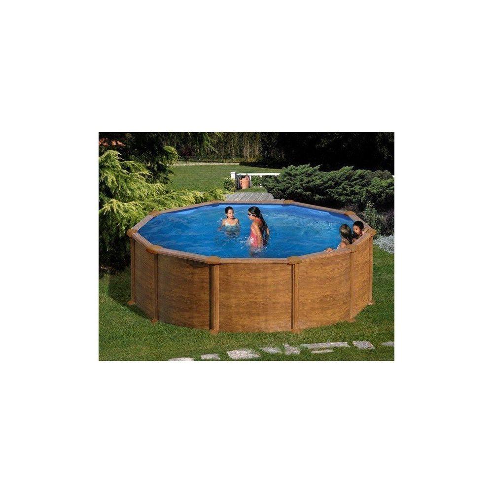 Gre Pools - Kit piscine hors sol acier ronde MALDIVAS aspect bois