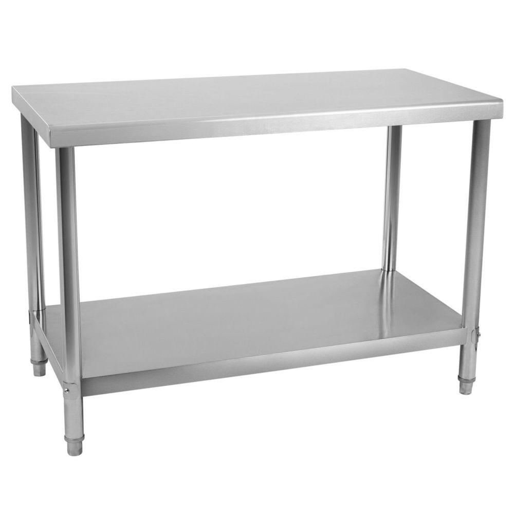 Helloshop26 Table de travail professionnelle acier inox pieds ajustable 100 x 60 cm 3614078