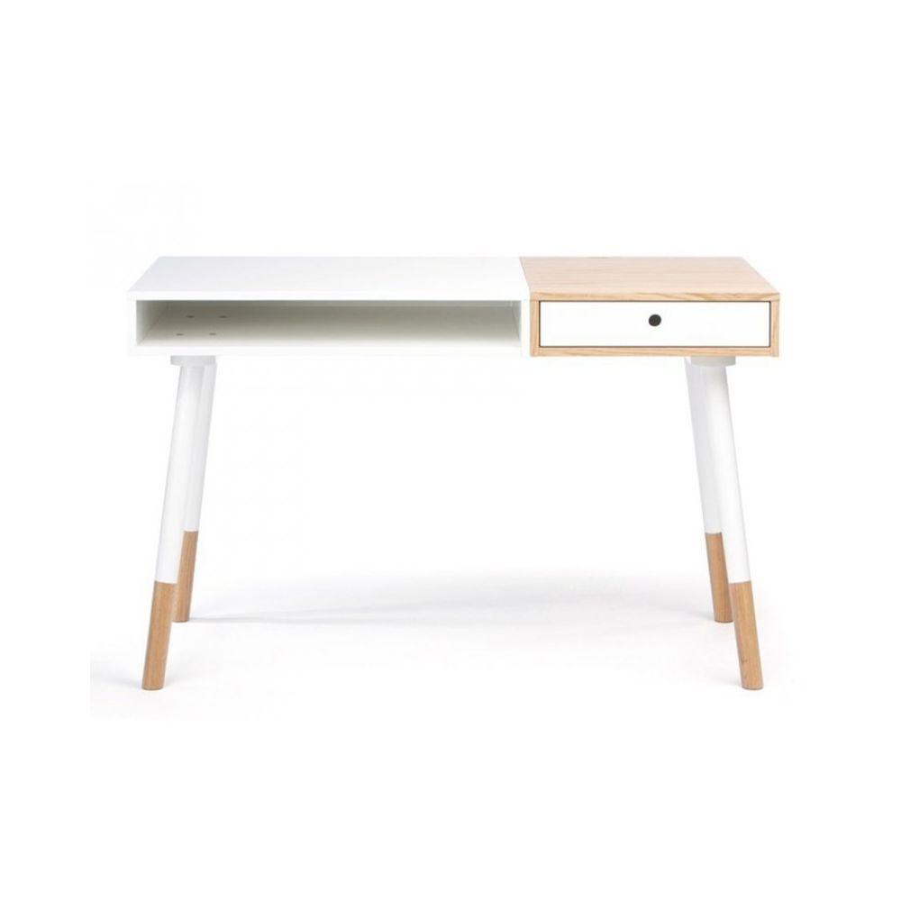 Paris Prix Bureau Design Sonnenblick 120cm Blanc & Chêne