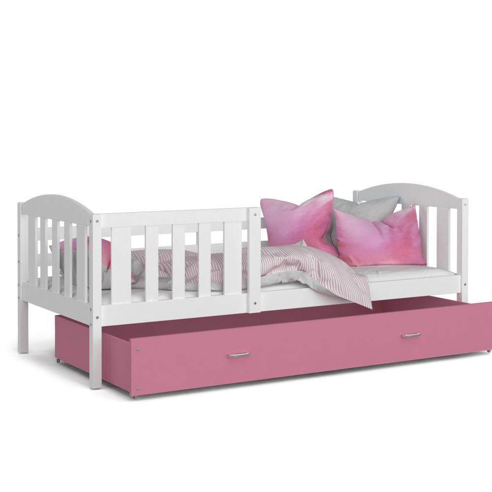 Kids Literie Lit enfant Téo 90x190 blanc rose livré avec tiroir, sommier et matelas en mousse de 7cm offert