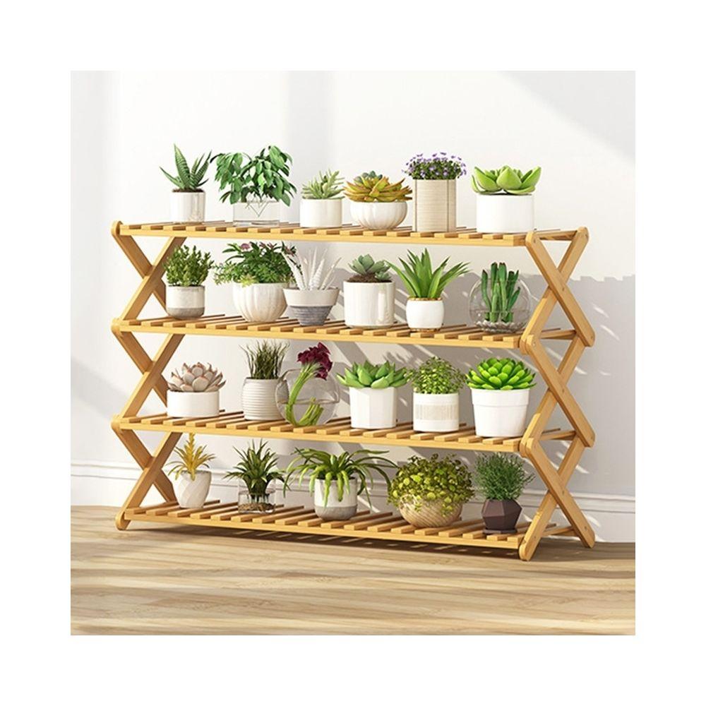 Wewoo Salon de balcon à 4 couchessupport de fleurs pliant en bois massifétagères de plantation potlongueur 100 cm