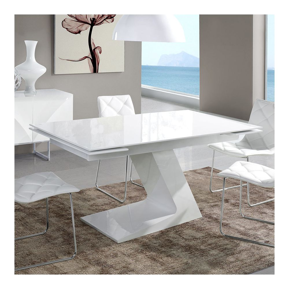 Nouvomeuble Table extensible design blanc laqué MANAMA
