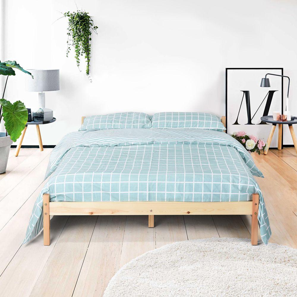 sans marque  furnish1 lit cadre sommiers bois 140x190cm