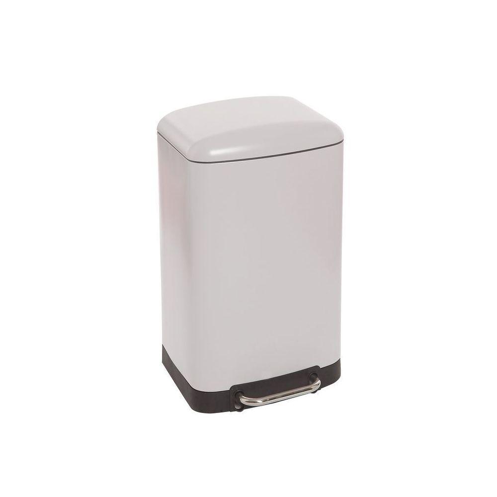 JJA Poubelle carrée en métal 30L blanche
