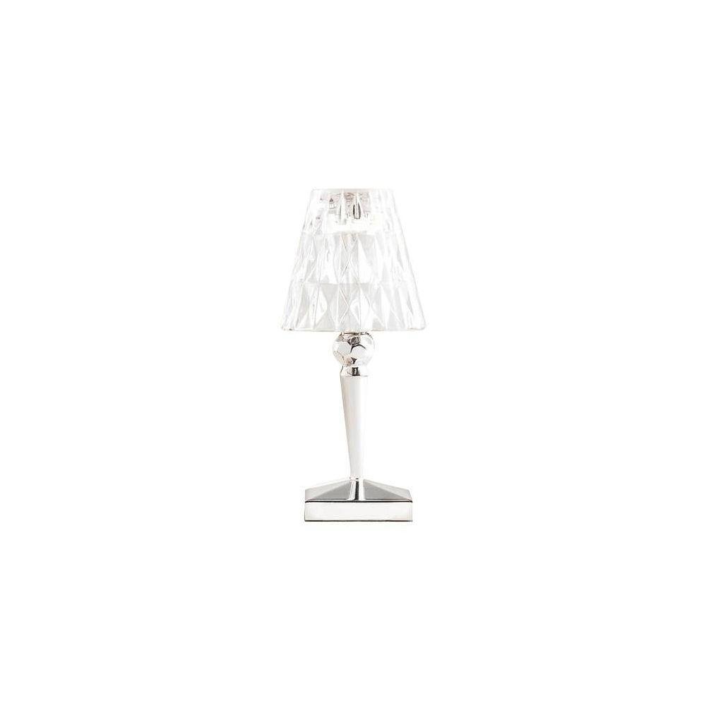 Kartell BATTERY - Lampe à poser LED d'extérieur rechargeable Chrome/Transparent H22cm