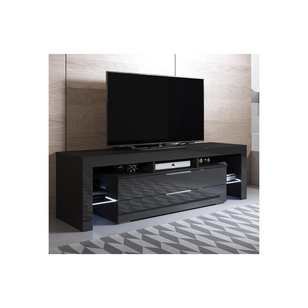 Design Ameublement Meuble TV modèle Selma (160x53cm) couleur noir avec LED RGB
