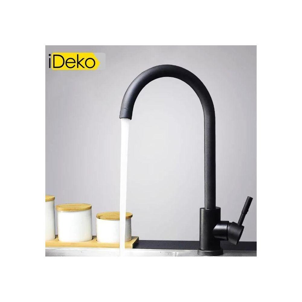 Ideko iDeko® Robinet de cuisine en céramique rotation à 360 degrés évier Noir rétro standard EU