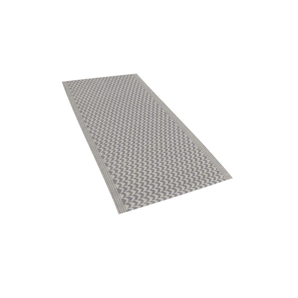 Beliani Beliani Tapis extérieur au motif zigzag gris 60 x 90 cm MANGO - gris