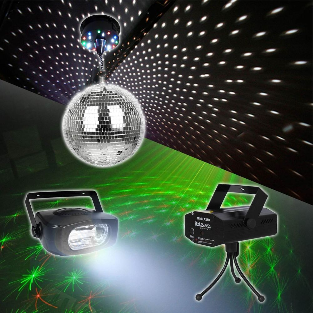Madison Boules à facettes + stoboscope + laser DJ-SBM