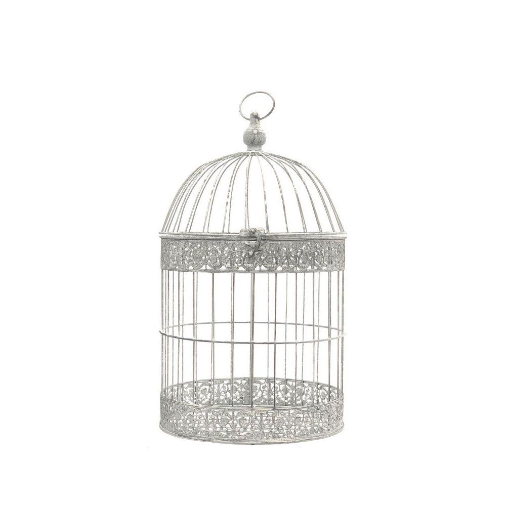 L'Originale Deco Grande Cage Oiseaux Bougie Ronde Gris Blanc Chie 54 cm x ø30 cm