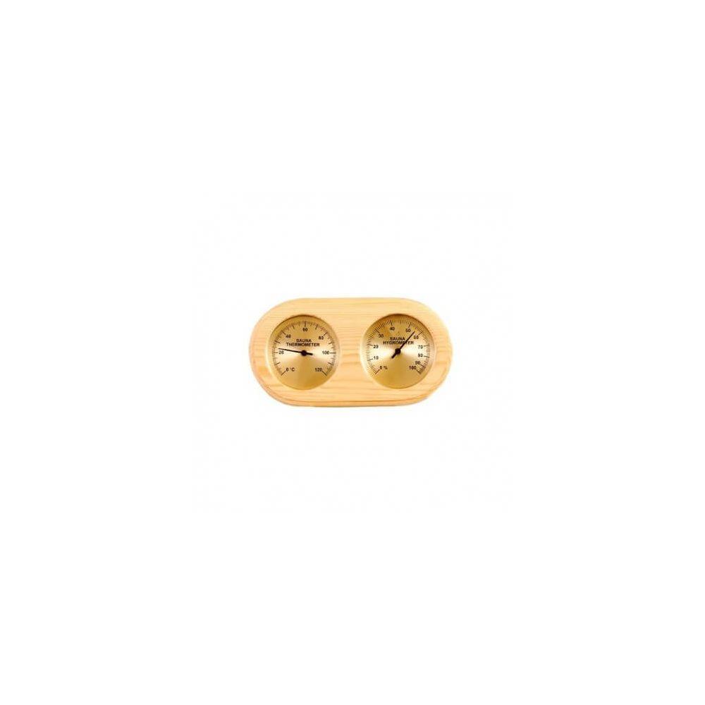 Desineo Thermomètre , Hygromètre SAWO en Pin pour sauna fond doré