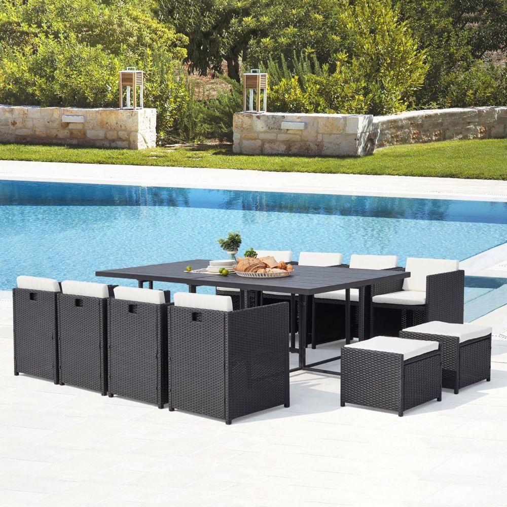 Concept Usine Sunset 12 : salon de jardin encastrable 12 places en résine tressée et aluminium noir/blanc