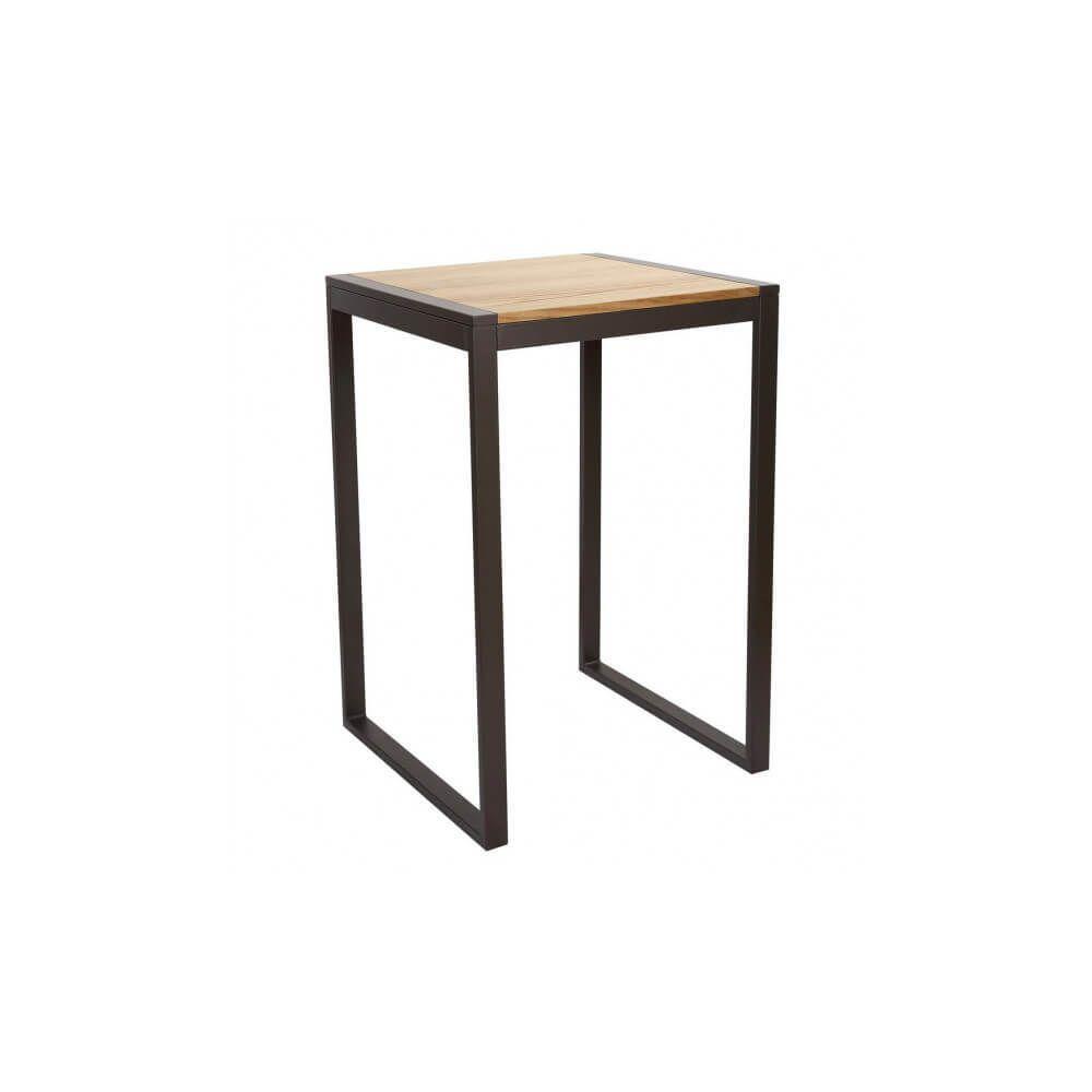 Mathi Design NEVADA - Mange debout carré 70 cm acier/bois massif naturel