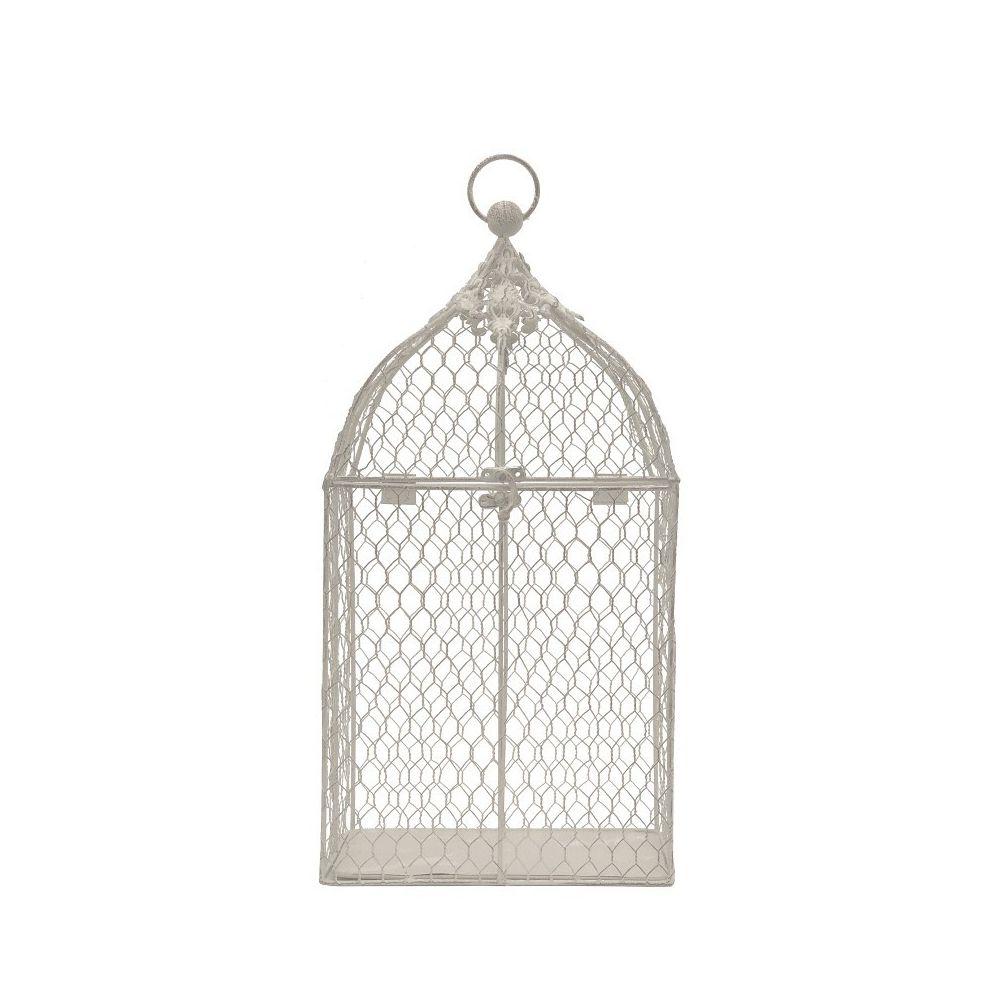 Chemin De Campagne Cage à Oiseaux de Déco Rectangle Rectangulaire Blanc 46 cm