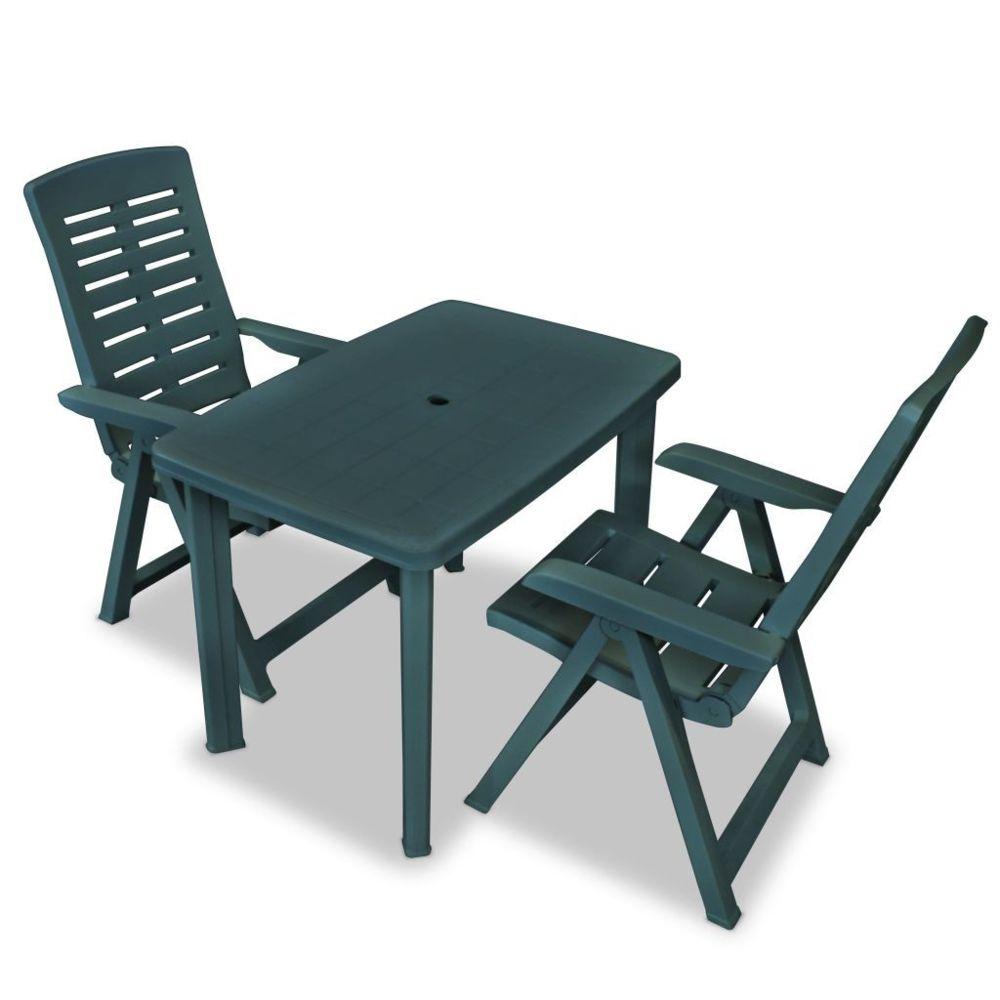 Vidaxl Ensemble de mobilier de jardin 3 pcs 101 x 68 x 72 cm Vert - Ensembles de meubles d'extérieur   Vert   Vert