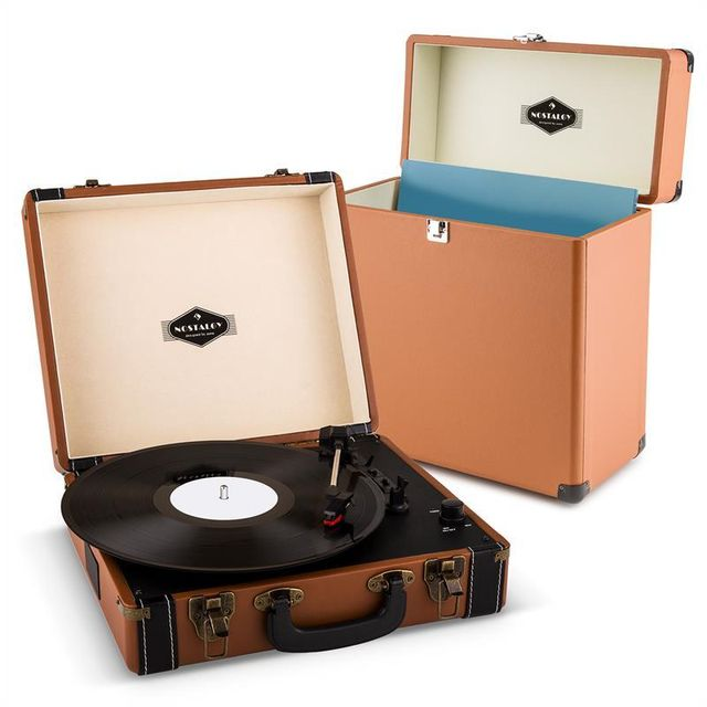 Auna - auna Jerry Lee Record Collector Set Tourne-disques rétro Valise vinyles - marron Auna - Hifi