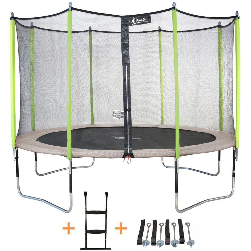 Kangui Kangui - Trampoline de jardin 365 cm + filet de sécurité + échelle + kit d'ancrage JUMPI Taupe/Vert 360