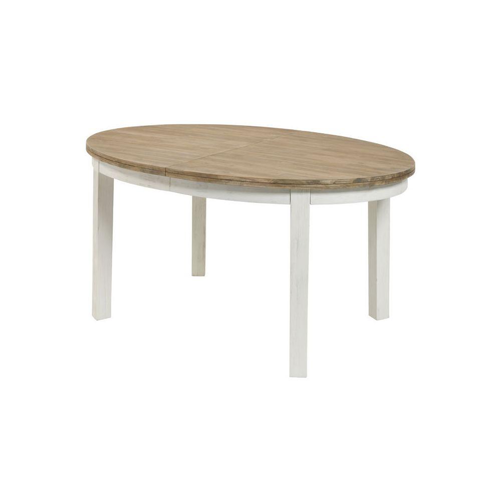 Tousmesmeubles Table de repas ovale à allonge Blanc/Bois - DUNEDIN