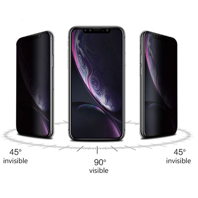 Phonillico Verre Trempe pour iPhone XS MAX - Film Noir Anti Espion Vitre Protection Ecran [Phonillico®]