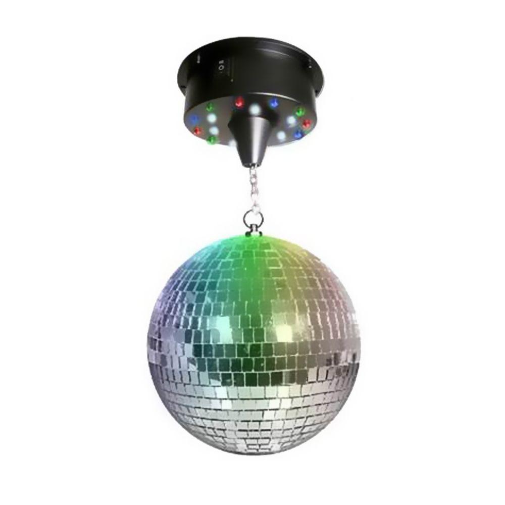 Disco Pro Boule à facettes 20 cm + moteur avec 18 LEDs
