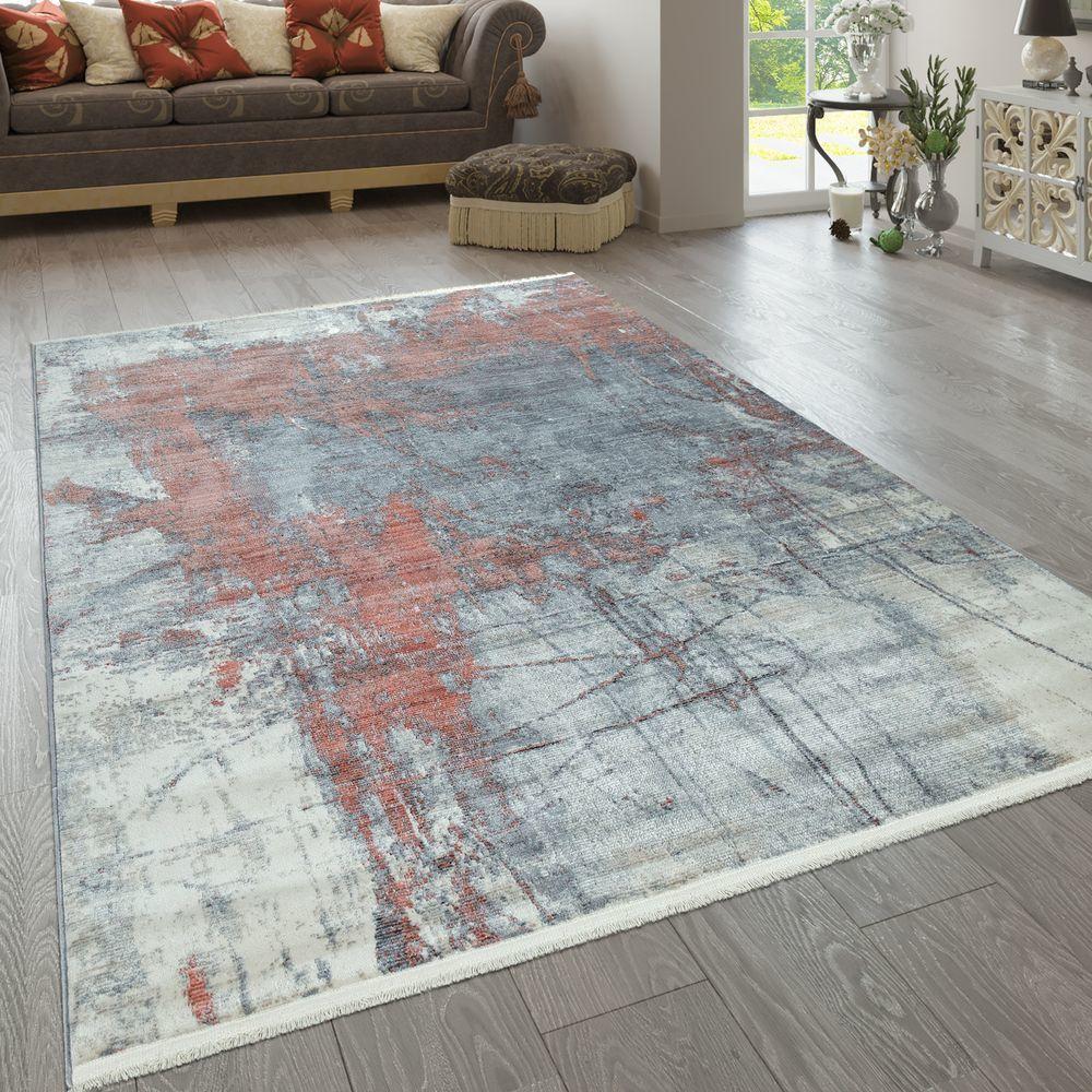 Paco-Home Tapis De Salon Coloré Bleu Rouge Blanc Abstrait Peinture Design Style Usé Poils Ras