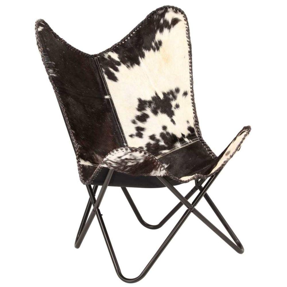 Vidaxl Chaise Cuir véritable de chèvre Noir et Blanc Forme de papillon - Fauteuils club, inclinables et chauffeuses lits | Mult