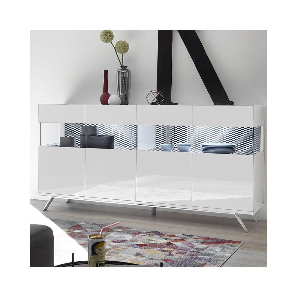 Sofamobili Buffet 180 cm blanc et noir design avec LED ROSINI 3