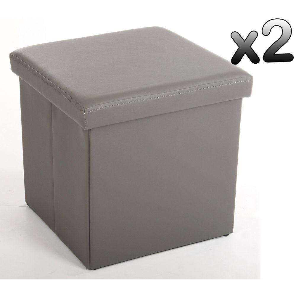 Pegane Lot de 2 poufs carrés Lilo en Polyuréthane coloris gris, Dim : Hauteur 37.5 x Profondeur 38 x Largeur 38 cm