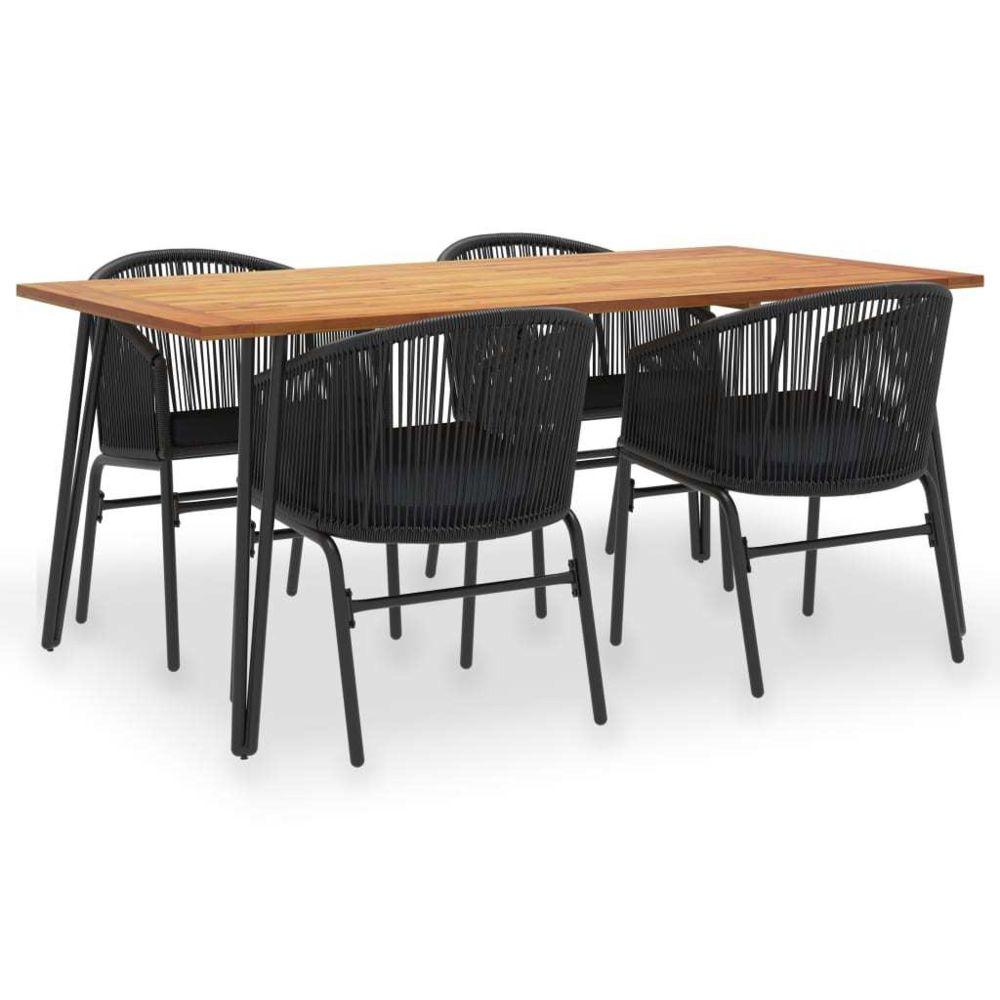 Vidaxl vidaXL Mobilier à dîner d'extérieur 5 pcs Acacia solide et rotin PVC