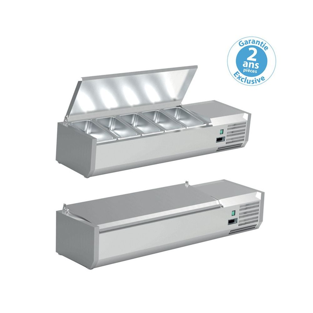 Furnotel Saladette à Poser Pizza - Bac GN 1/4 - Couvercle Inox - Furnotel - 1200 mm 5 x GN 1/4