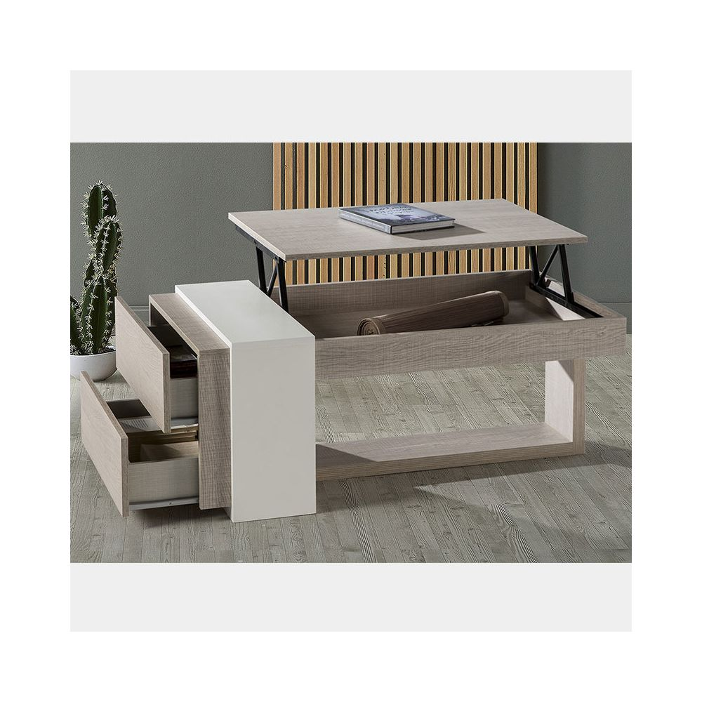 Nouvomeuble Table basse modulable moderne couleur bois ANTIBES