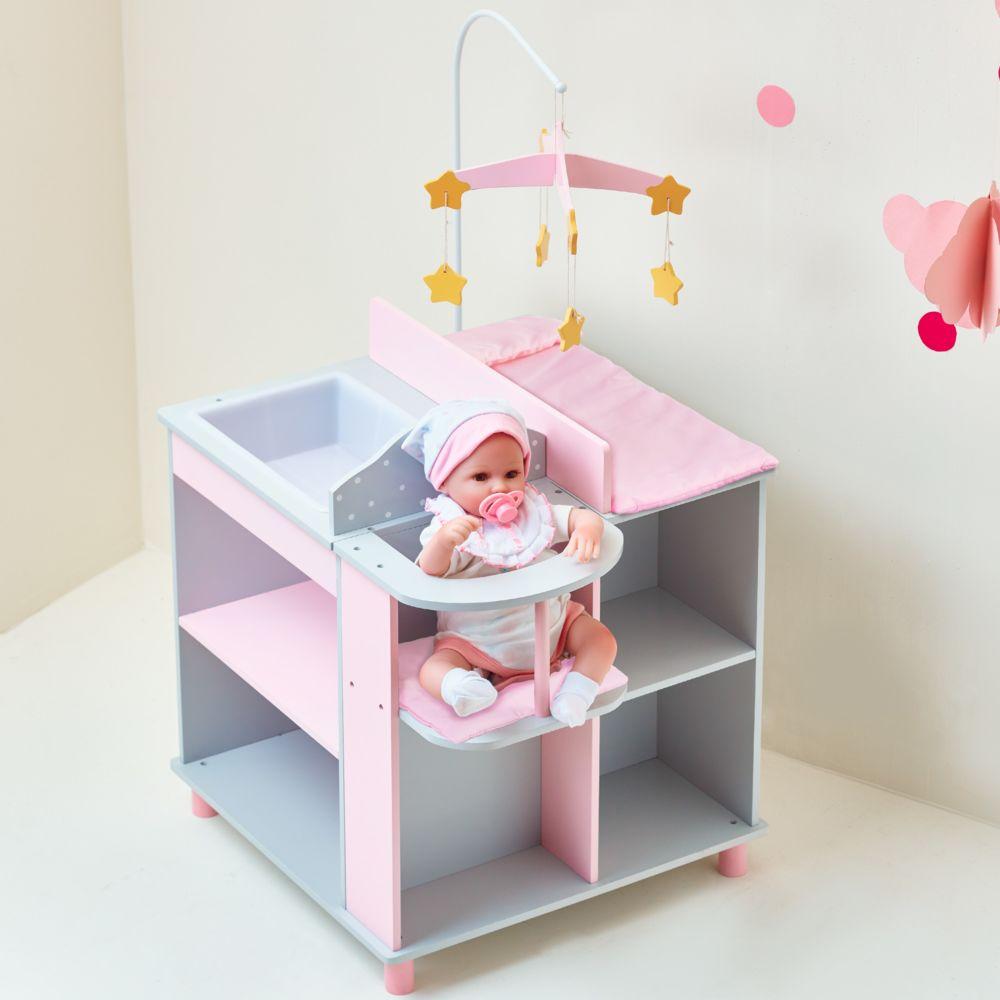 Olivia'S Little World Table à langer poupon poupée Polka Dots Princess rangement bois jeux TD-0203AG