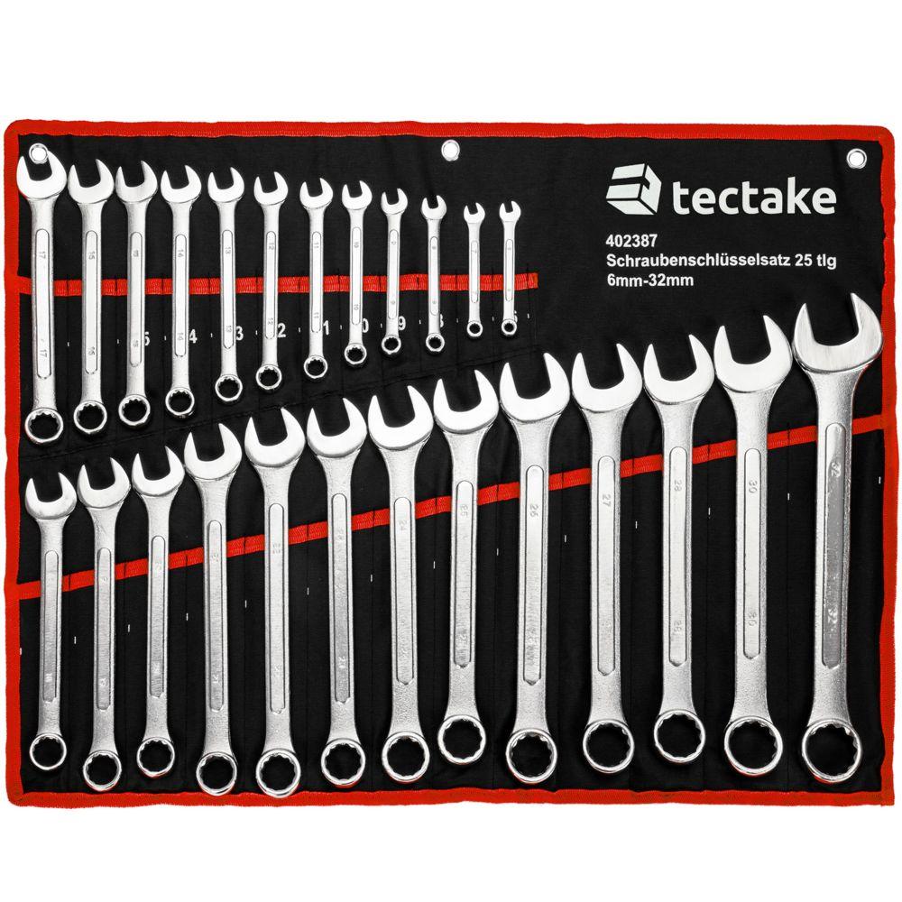 Tectake 25 Clés Mixtes en Acier Carbone 6 mm - 32 mm + 1 Trousse - noir/rouge