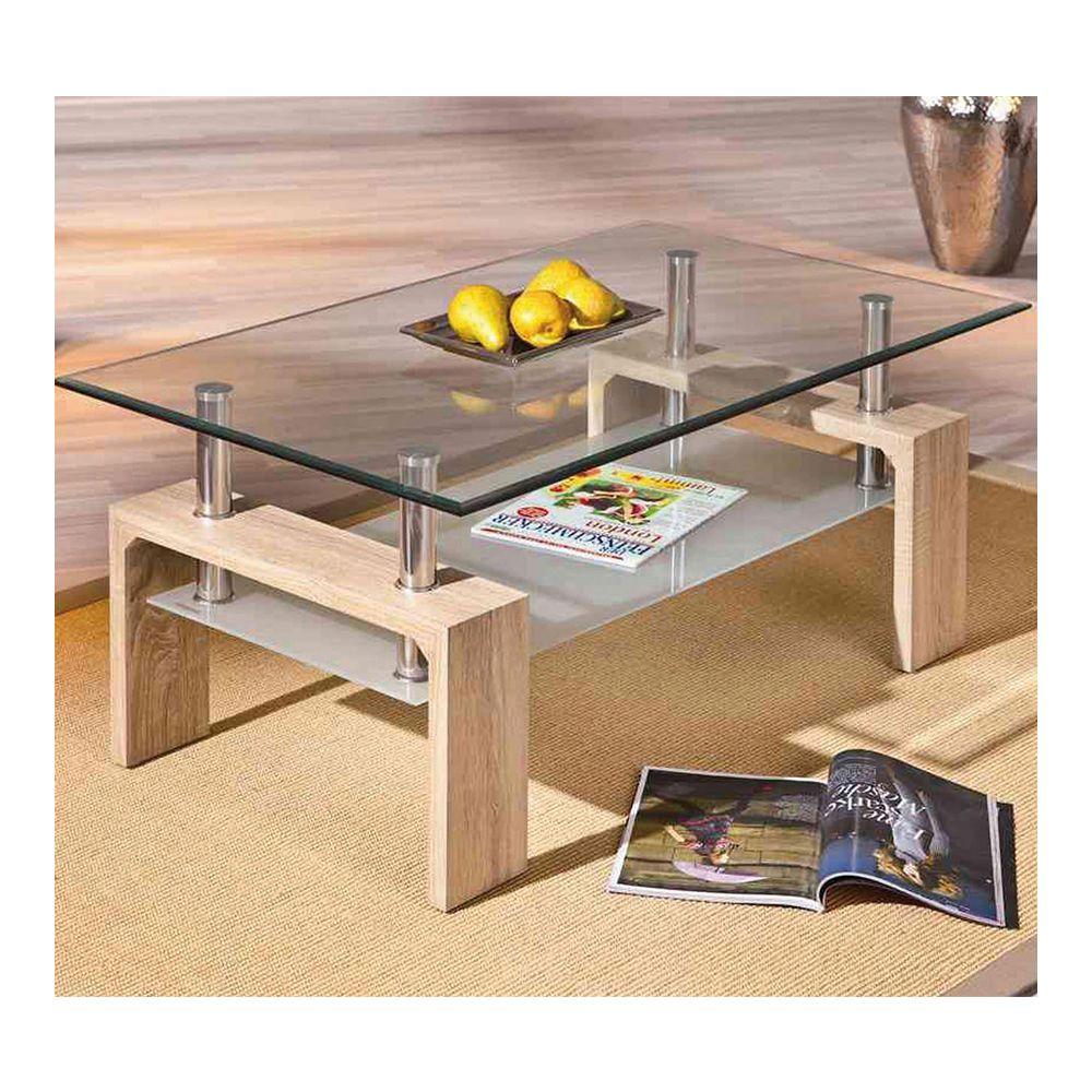 Nouvomeuble Table basse verre et couleur chêne clair ALINE