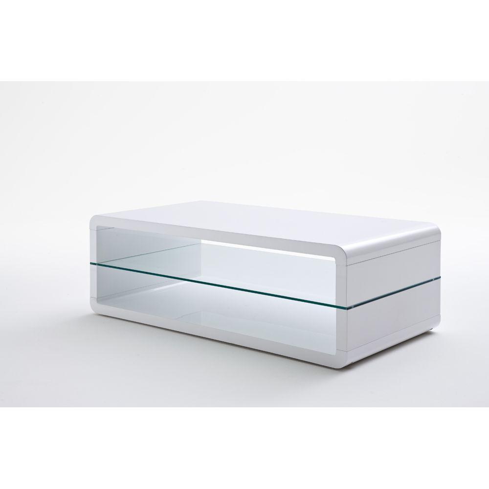 Pegane Table basse avec étagere verre laque blanc brillant - L120 x H41 x P60 cm -PEGANE-