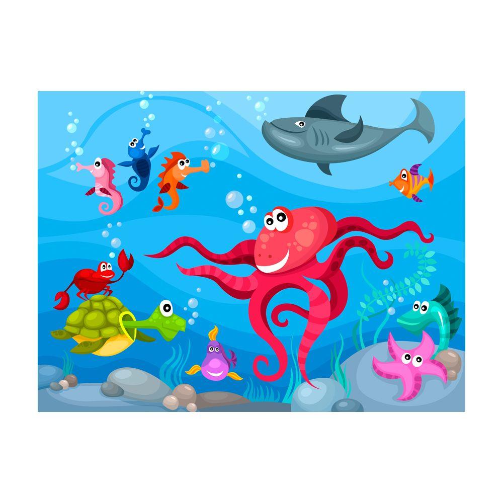 Marque Generique 350x270 Papier Peint Pour Enfants Chic Poulpe Et Requin Papier Peint Rue Du Commerce
