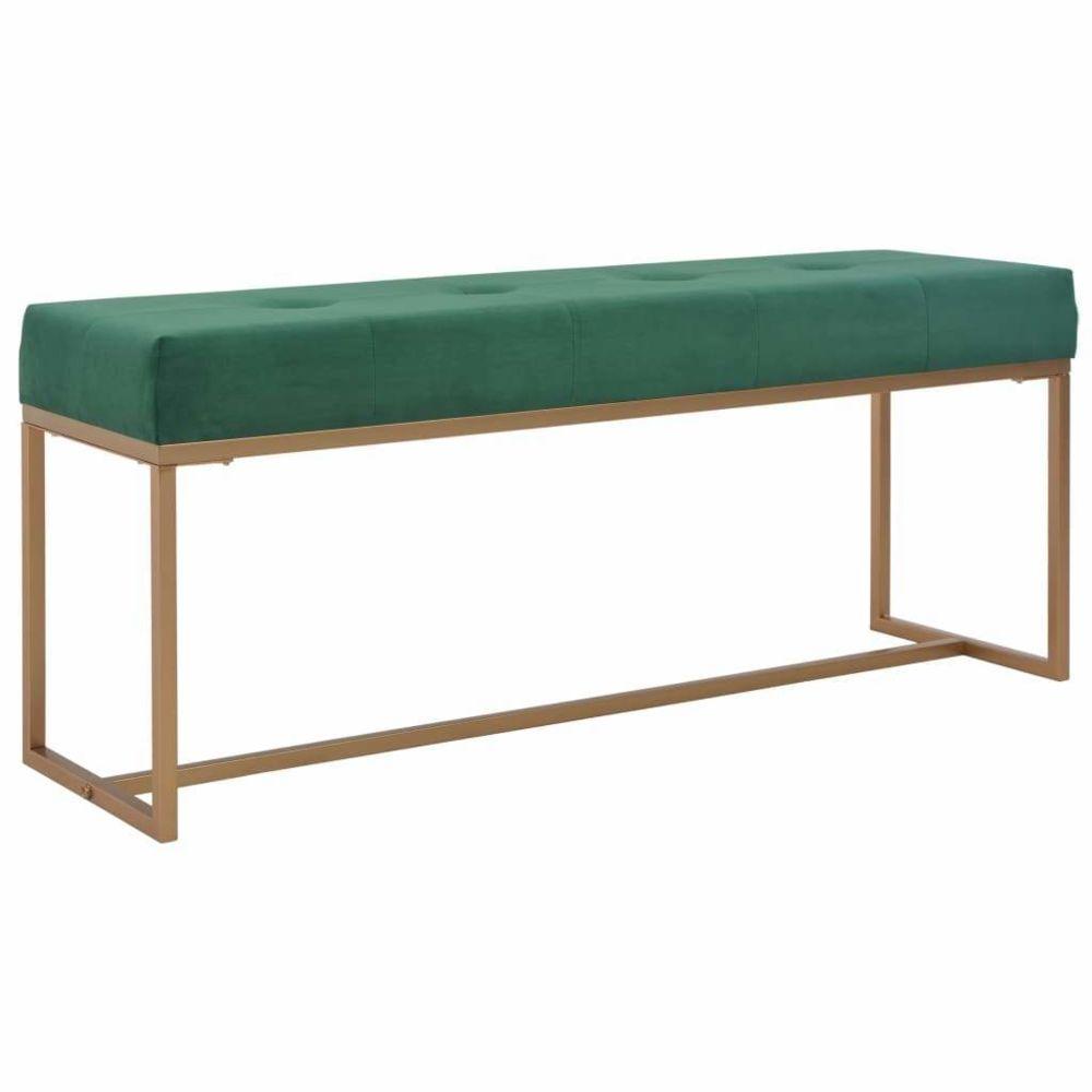 Helloshop26 Banquette pouf tabouret meuble banc 120 cm vert velours 3002104