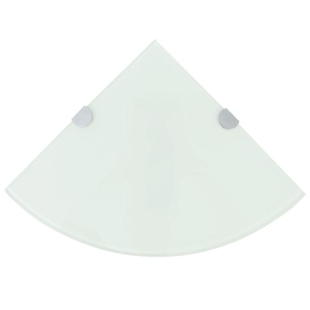 Uco UCO Étagères d'angle 2 pcs et supports chromés Verre Blanc 25x25 cm