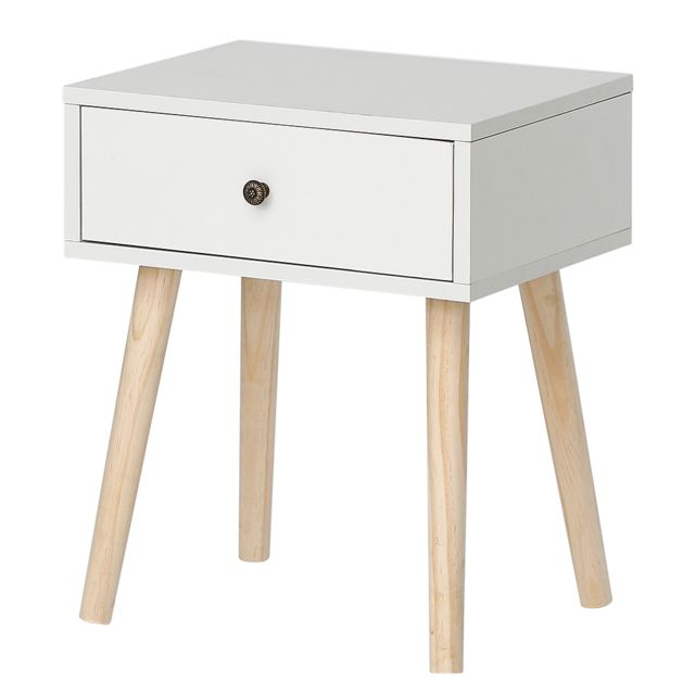 Ltppstore - Table de chevet simple scandinave avec tiroirs coulissants Table de chevet scandinave blanc clair laqué satiné - Chevet