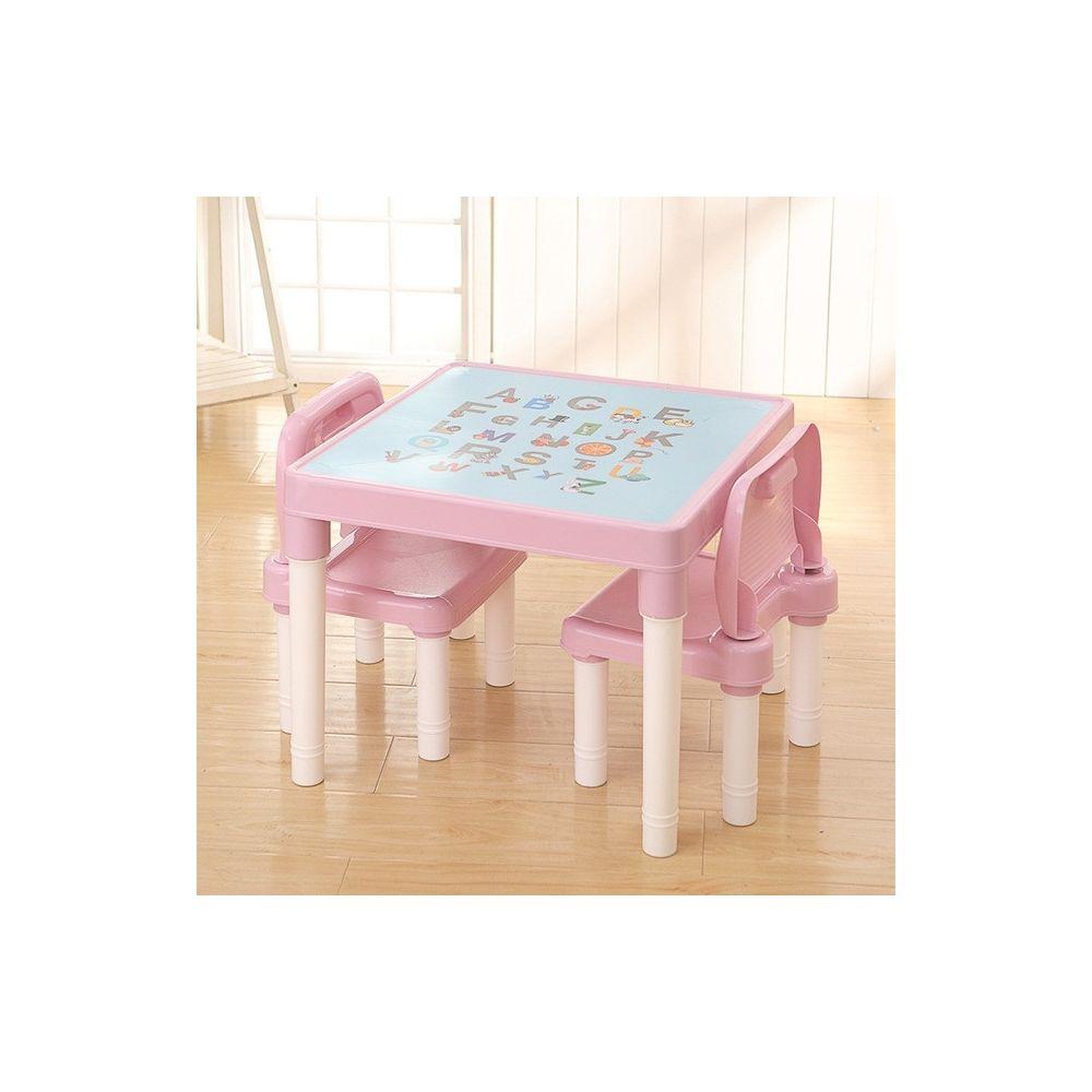 Wewoo Table d'étude pliante pour enfants et jeu de chaises de en plastique rose